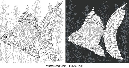 Coloring Page. Coloring Book. Colouring picture with Gold Fish drawn in zentangle style. Antistress freehand sketch drawing. Vector illustration.