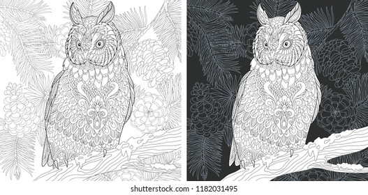 Coloring Page. Coloring Book. Colouring picture with Owl drawn in zentangle style. Antistress freehand sketch drawing. Vector illustration.