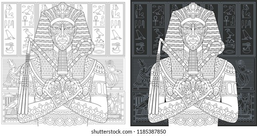 Coloring Page. Coloring Book. Colouring picture with egyptian pharaoh drawn in zentangle style. Antistress freehand sketch drawing. Vector illustration.
