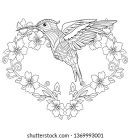 Coloring Page. Coloring Book. Colouring picture with hummingbird and flowers in heart shape. Antistress freehand sketch drawing with doodle and zentangle elements.