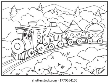 Coloring page for book with cute Train. Drawing outline locomotive. Children artwork. Kids worksheet. Vector illustration transport.