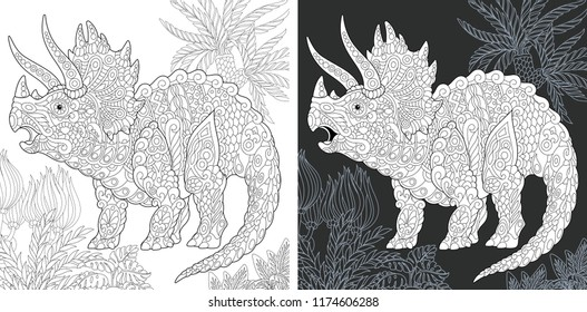 Coloring Page. Coloring Book. Dinosaur collection. Colouring picture with Triceratops drawn in zentangle style. Antistress freehand sketch drawing. Vector illustration.