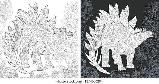 Coloring Page. Coloring Book. Dinosaur collection. Colouring picture with Stegosaurus drawn in zentangle style. Antistress freehand sketch drawing. Vector illustration.