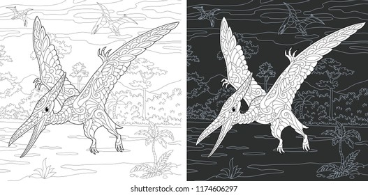 Coloring Page. Coloring Book. Dinosaur collection. Colouring picture with Pterodactyl drawn in zentangle style. Antistress freehand sketch drawing. Vector illustration.