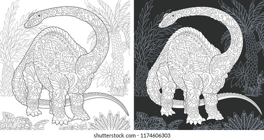 Coloring Page. Coloring Book. Dinosaur collection. Colouring picture with Brontosaurus drawn in zentangle style. Antistress freehand sketch drawing. Vector illustration.