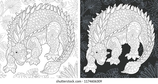 Coloring Page. Coloring Book. Dinosaur collection. Colouring picture with Ankylosaurus drawn in zentangle style. Antistress freehand sketch drawing. Vector illustration.