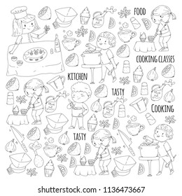 Coloring page for book. Kitchenware. Cooking class, courses for children and parents. Vector pattern.