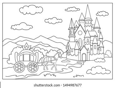 Coloring page for book. Coloring landscape a carriage with a horse near the castle. Kids activity worksheet. Drawing fairytale landscape. Children art game. Vector illustration.