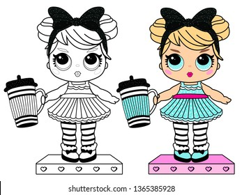 Coloring page book for little girl. Girlish cute illustration for kids birthday party in LOL doll surprise style. Printable colorful black and white painting. Blond with big blue eyes in dress