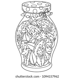 Coloring Page Coloring Book Pickles Jar Stock Vector Royalty Free