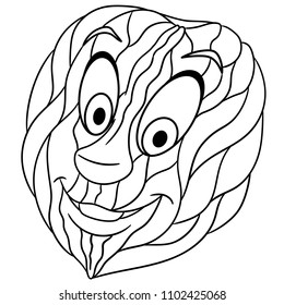 Coloring Page Book Walnut Nut Happy Cartoon Design For T