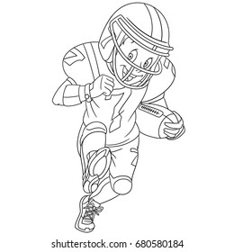 Coloring page of boy playing rugby, american football. Colouring book for kids and children. Cartoon vector illustration.