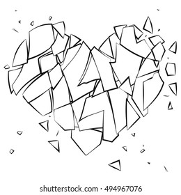 Coloring page broken heart on white background. Broken glass shards