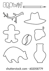 Coloring page, brown things set. Single color worksheets gingerbread, coffee, branch, acorn, jar, bear, hat. Vector illustration, silhouette, isolated. For education and activities.
