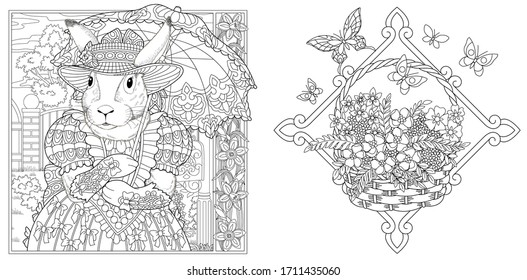 Coloring page. Bunny girl in spring flower garden with lace umbrella. Line art engraving design for adult or kids colouring book in zentangle style. Vector illustration.