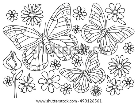 Coloring Page Butterflies Flowers Stock Vector Royalty Free