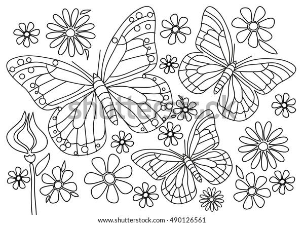 Boyama Sayfasi Cicekler Ile Kelebekler Stok Vektor Telifsiz