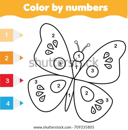 coloring page butterfly color by numbers のベクター画像素材