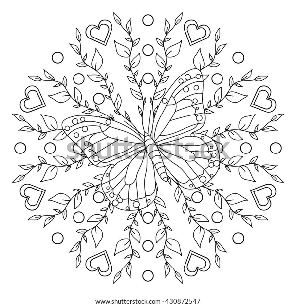 Coloring Page Butterfly Mandala Royalty Free Stock Image