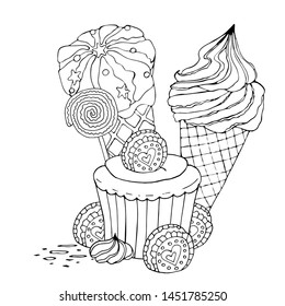 Coloring page with cake, ice cream, cupcake, candy and other dessert. Sweet dessert coloring book. Vector isolated dessert