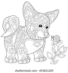 Coloring page of cardigan welsh corgi puppy, dog symbol of 2018 Chinese New Year. Freehand sketch drawing for adult antistress colouring book with doodle and zentangle elements.