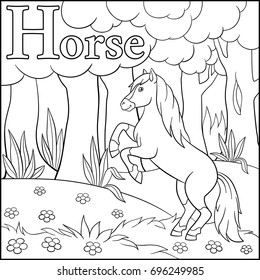 Coloring page. Cartoon animals alphabet. H is for Horse.