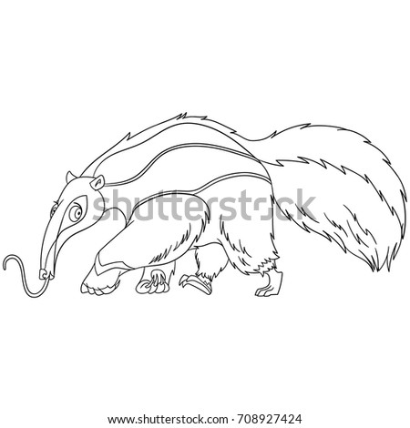 Coloring Page Of Cartoon Anteater Animal Book Design For Kids And Children