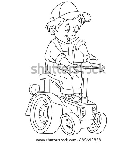 Coloring Page Of Cartoon Boy Driving A Tractor Book Design For Kids And Children