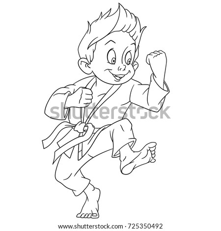 Coloring Page Of Cartoon Boy Practicing Karate Book Design For Kids And Children