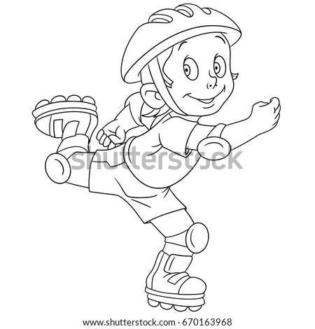 Coloring Page Cartoon Boy Roller Skating Stock Vector Royalty Free