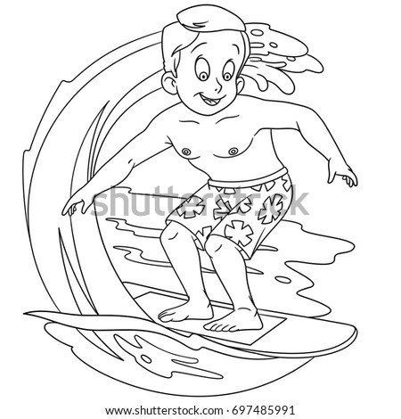 Coloring Page Of Cartoon Boy Surfing On Waves Book Design For Kids And Children