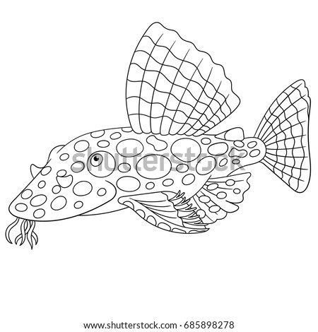 Coloring Page Cartoon Catfish Coloring Book Stock Vector Royalty