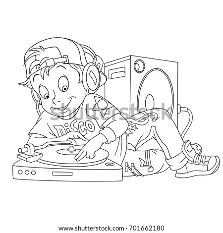 dj coloring pages | Coloring Page Cartoon Dj Boy Diskjockey Stock Vector ...