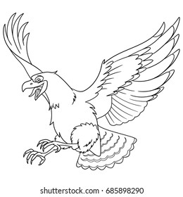 Coloring page of cartoon eagle bird (hawk, condor, falcon). Coloring book design for kids and children.