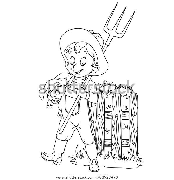 Coloring Page Cartoon Farmer Pitchfork Pig Stock ...