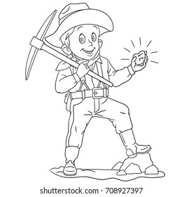 Coloring page of cartoon gold miner. Coloring book design for kids and children.