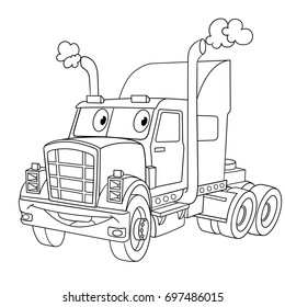 Coloring Page Of Cartoon Heavy Semi Truck Trailer Lorry Book Design