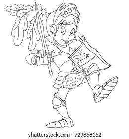 Coloring page of cartoon knight with shield and sword. Coloring book design for kids and children.