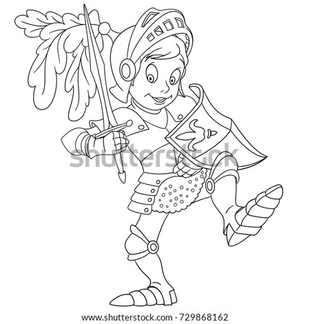 Coloring Page Cartoon Knight Shield Sword Stock Vector (Royalty Free ...
