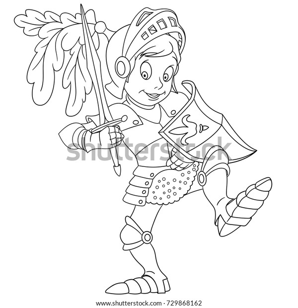 Coloring Page Cartoon Knight Shield Sword Stock Vector (Royalty Free ...