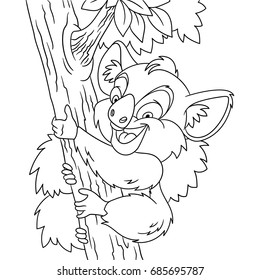 Coloring page of cartoon koala bear climbing the tree. Coloring book design for kids and children.