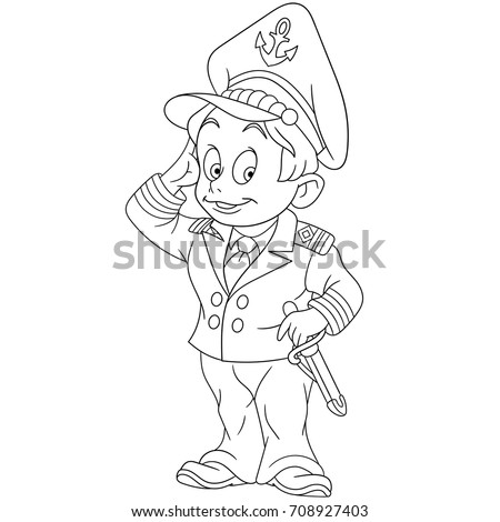 Coloring Page Cartoon Marine Captain Navy Stock Vector Royalty Free