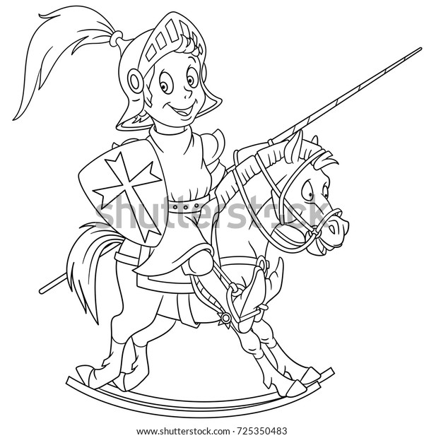 Coloring Page Cartoon Medieval Knight Riding Stock ...