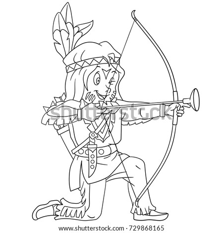 Coloring Page Of Cartoon Native American Indian Boy With Bow And Arrow Book Design
