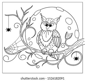 Coloring page. Cartoon owl sitting on the dry tree branch. Colouring picture with traditional Halloween night scene. Doodle design for adult and kids coloring book.