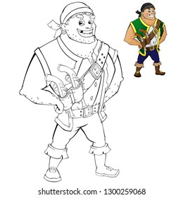 Coloring page of cartoon pirate with guns. Coloring book design for kids.