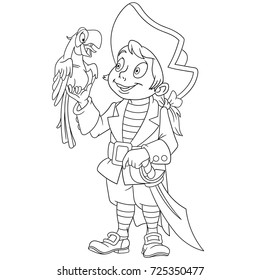 Coloring page of cartoon pirate and his macaw parrot. Coloring book design for kids and children.