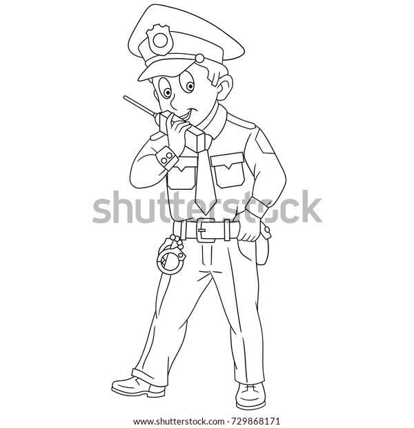 - Coloring Page Cartoon Police Officer Policeman Stock Vector (Royalty Free)  729868171