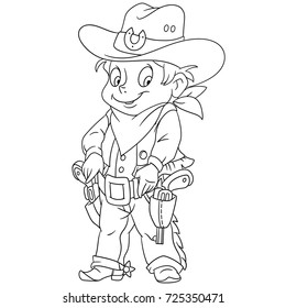 Coloring page of cartoon sheriff or american cowboy. Coloring book design for kids and children.