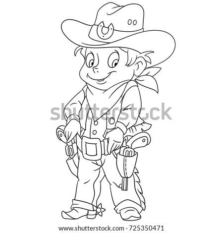 Coloring Page Cartoon Sheriff American Cowboy Stock Vector (Royalty ...